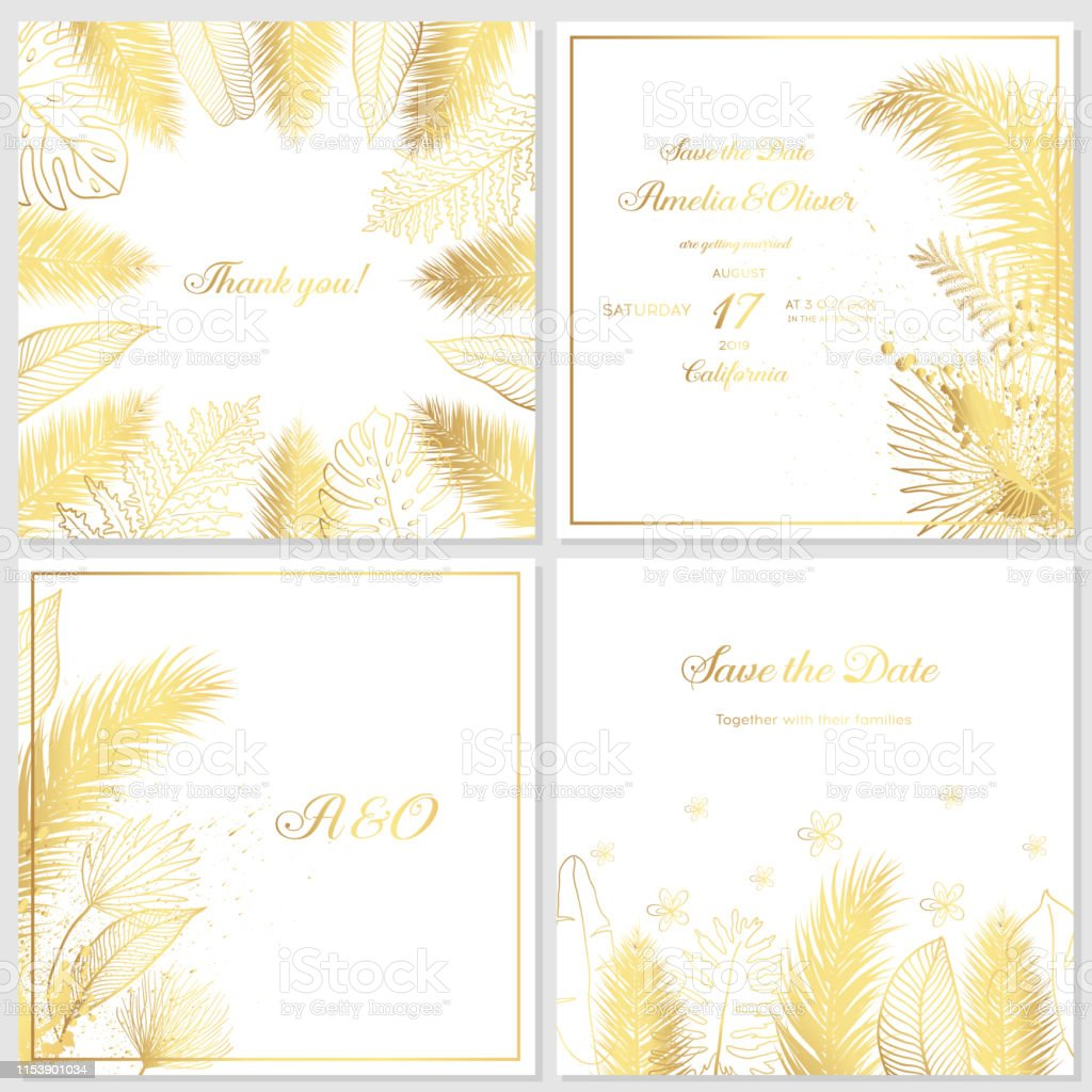 Gold Wedding Invitation With Tropical Leaves Luxury Wedding