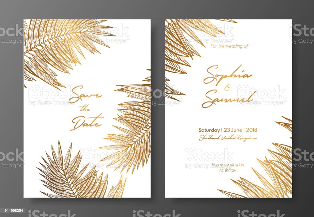Gold Wedding Invitation With Tropical Leaves Vector Elements For ...