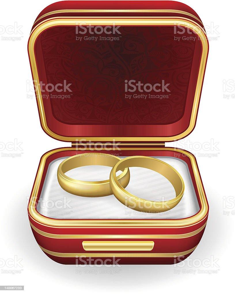 Goldene Hochzeit Ringe Auf Rote Box Stock Vektor Art Und Mehr Bilder