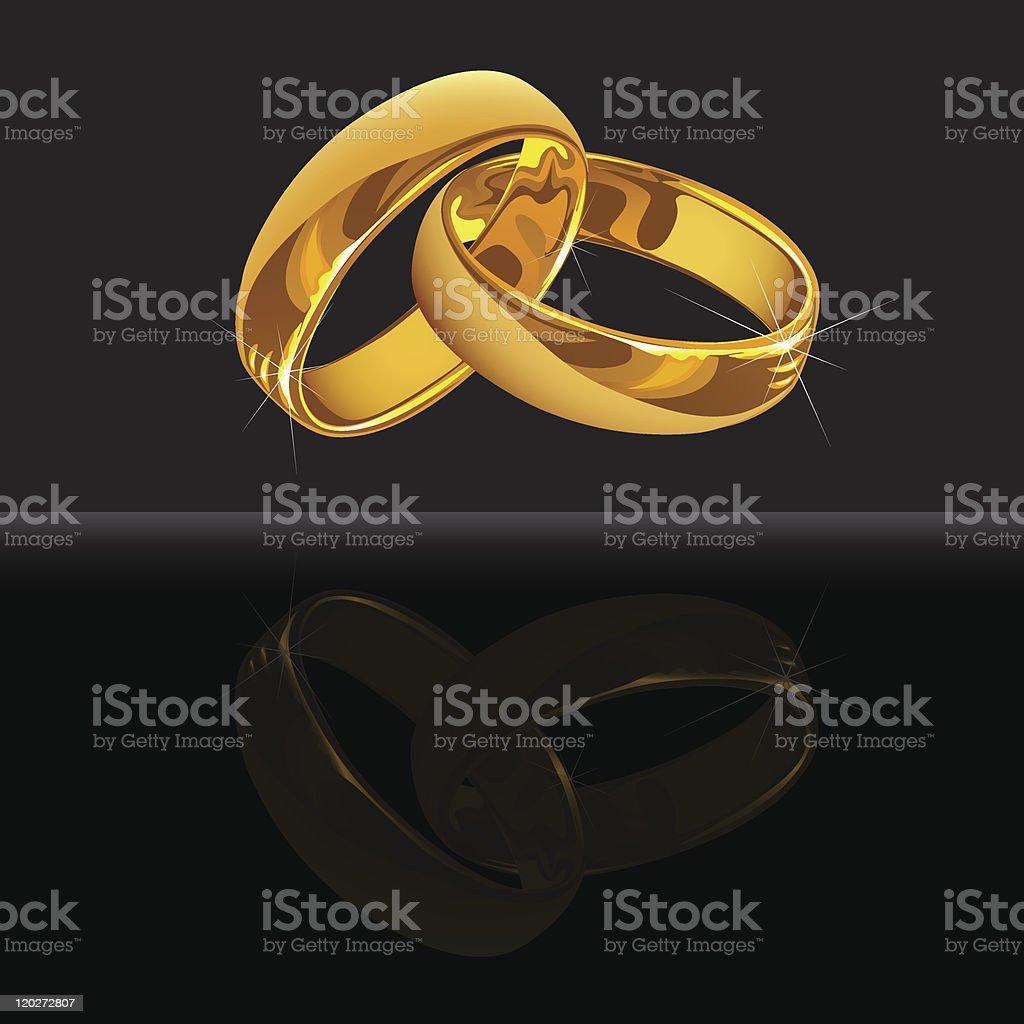 Anneaux De Mariage En Or Sur Fond Noir Avec Reflet Vecteurs