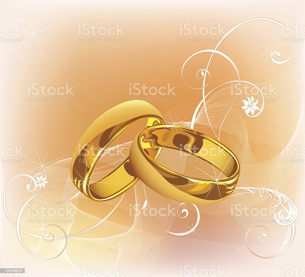 Gold wedding rings on pink background with floral pattern royalty-free stock vector art