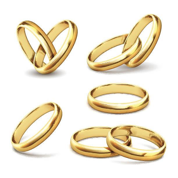 illustrations, cliparts, dessins animés et icônes de anneaux de mariage en or - bague