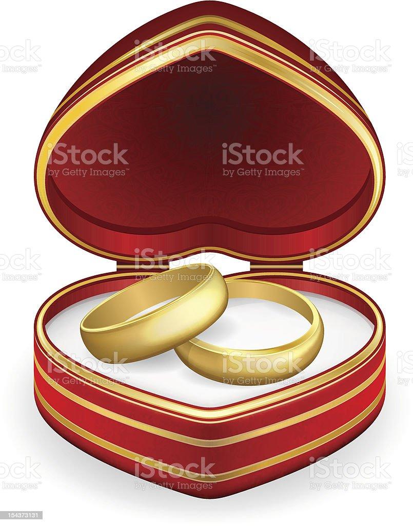 Goldene Hochzeit Ringe Mit Herzformigen Schachtel Vektor