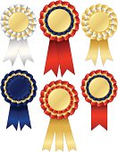 Set of shiny gold, red, white, blue award winning ribbons (rosettes), stickers, buttons, OPTIONAL ribbons and drop shadows. Mixable layers. Copy space.