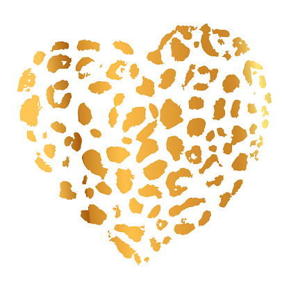 Gold Wild Leopard Heart Print, Hand Drawn Technique. Vector illustration.