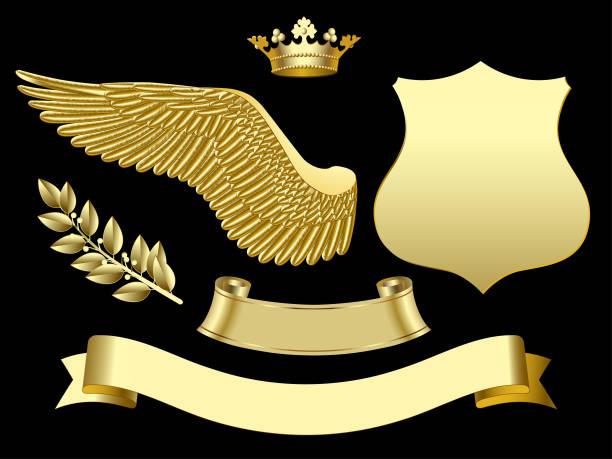Gold wing, crown, sign, ribbon and laurel branch vector art illustration