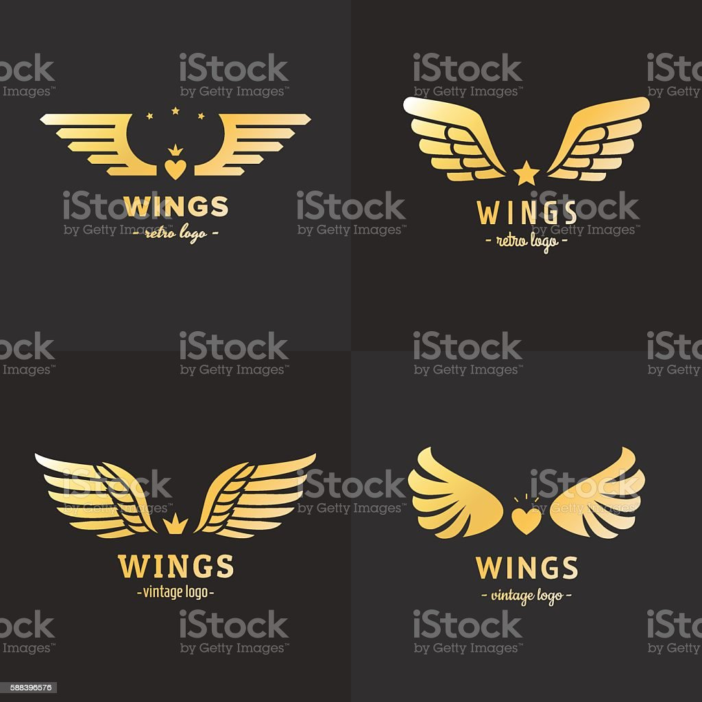 Gold Wings Logo Vector Set Vintage Hipster Design Part Four Stock