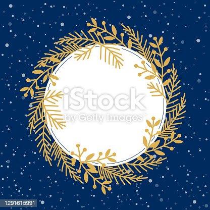 Gold winter blank round frame