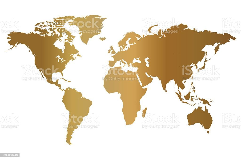 Gold World Map Illustration royalty-free gold world map illustration stock vector art & more images of abstract