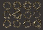 Collection of hand drawn ink painted gold floral wreaths and laurels. Vintage golden design elements for wedding, holiday and greeting cards. Vector illustration.