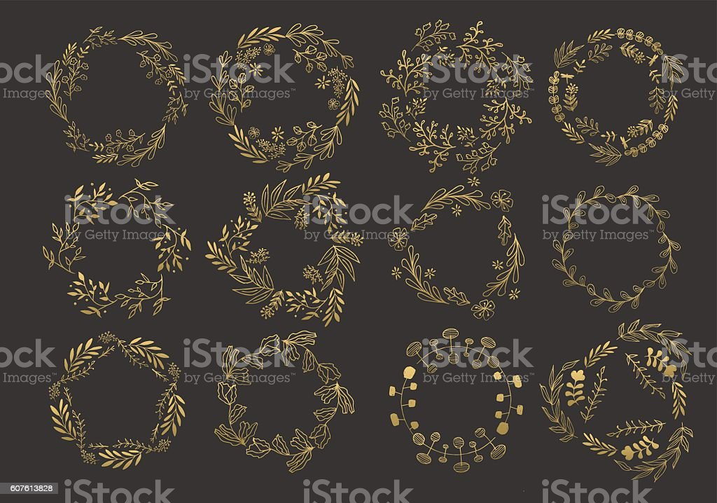 Gold wreaths and laurels - ilustración de arte vectorial