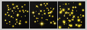 Set of three gold backdrops with stars and dust sparkles isolated on dark transparent background. Celebratory magical Christmas shining light effect. Vector illustration.