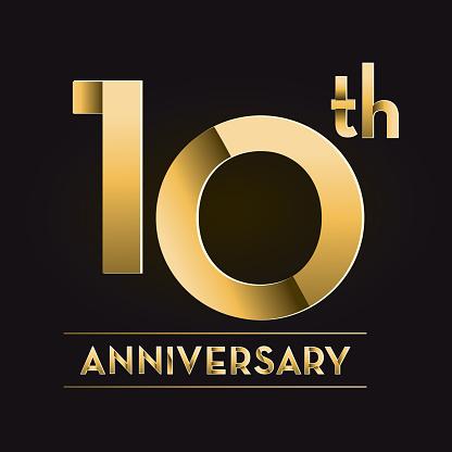 Golden 10th Anniversary celebration label designs