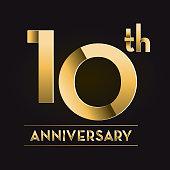 istock Golden 10th Anniversary celebration label designs 1256009917