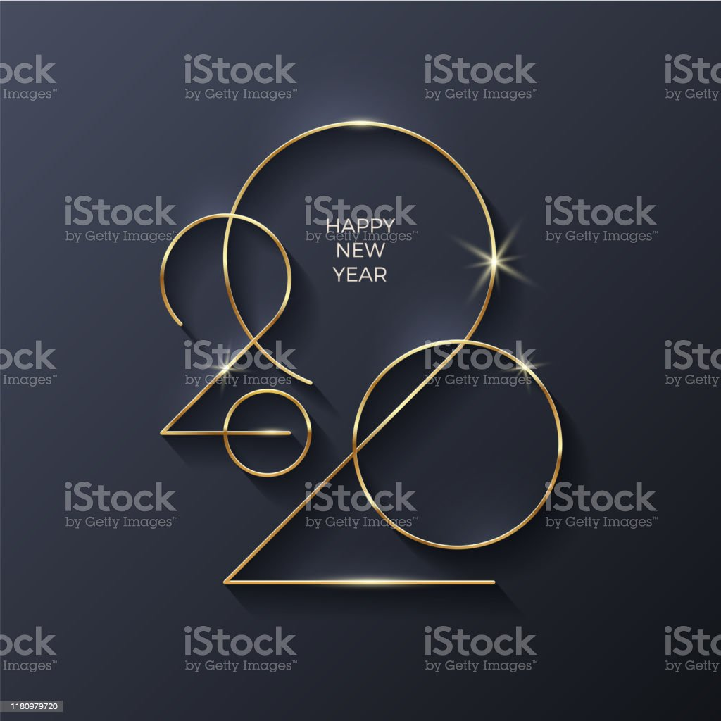 Golden 2020 New Year logo. Holiday greeting card. Vector illustration. Holiday design for greeting card, invitation, calendar, etc. - Royalty-free 2020 arte vetorial