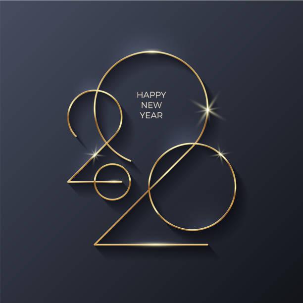 ilustraciones, imágenes clip art, dibujos animados e iconos de stock de logotipo de año nuevo oro 2020. tarjeta de felicitación navideña. ilustración vectorial. diseño festivo para tarjeta de felicitación, invitación, calendario, etc. - año nuevo