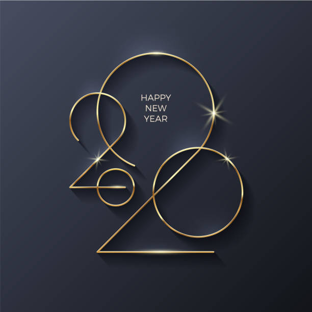 ilustrações de stock, clip art, desenhos animados e ícones de golden 2020 new year logo. holiday greeting card. vector illustration. holiday design for greeting card, invitation, calendar, etc. - new year