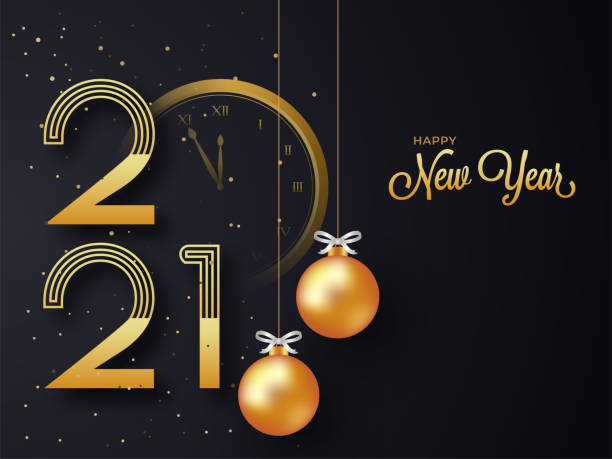 Golden 2021 Happy New Year Text With Clock And Hanging Realistic Baubles On Black Background. vector art illustration