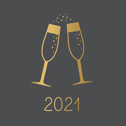 golden 2021 year and champagne glasses concept
