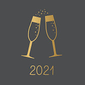 golden 2021 year and champagne glasses concept - vector illustration