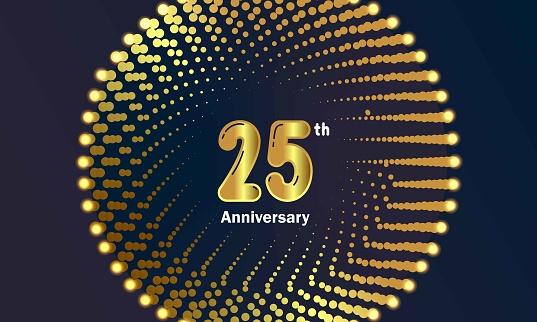 golden 25 years anniversary celebration background