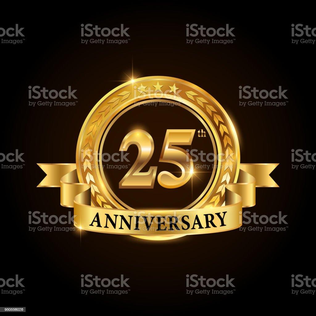 Goldenen 25 Jahre Jubiläum Feier Emblem. – Vektorgrafik