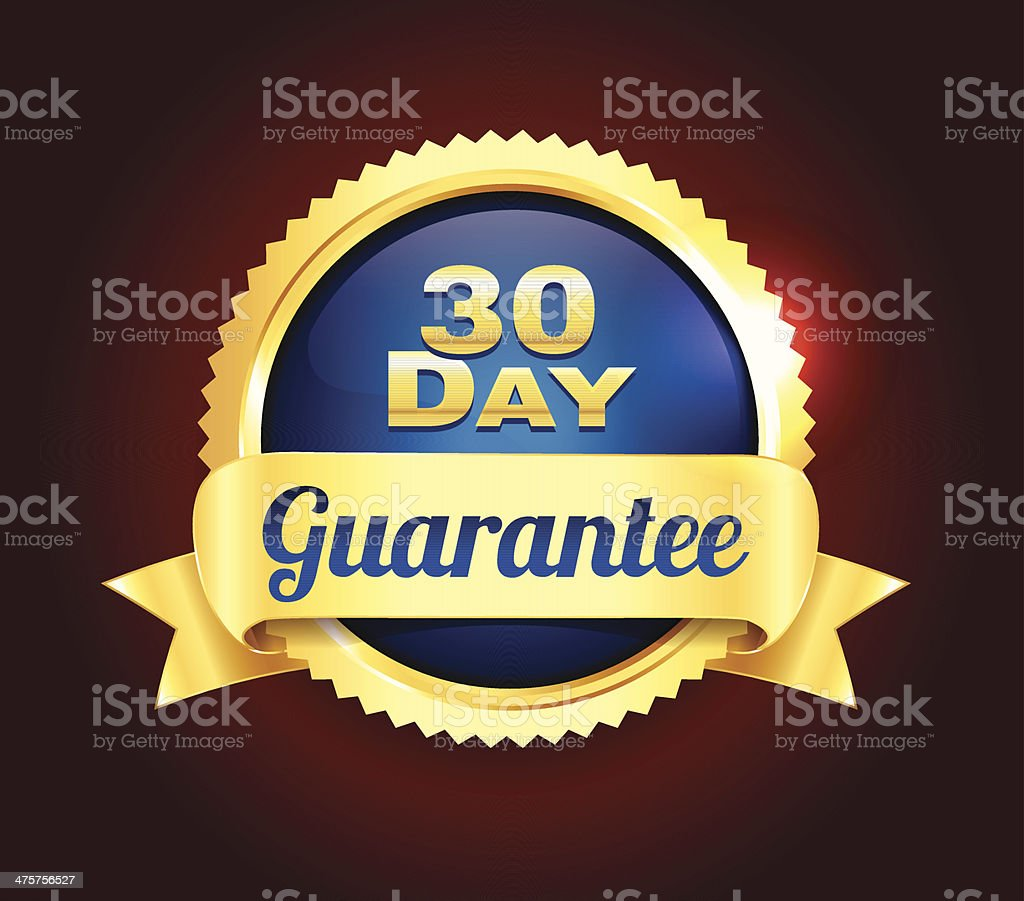 Golden 30 Day Quality Badge royalty-free golden 30 day quality badge stock vector art & more images of badge