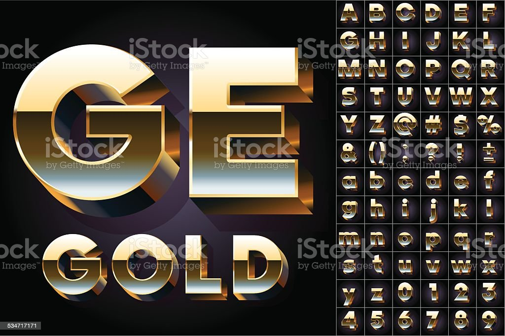 Golden 3D alphabet vector art illustration