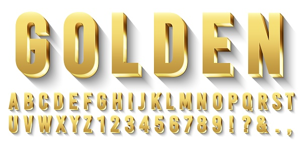 Golden 3D font. Metallic gold letters, luxury typeface and gold alphabet with shadows vector set