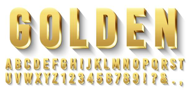 Golden 3D font. Metallic gold letters, luxury typeface and gold alphabet with shadows vector set Golden 3D font. Metallic gold letters, luxury typeface and gold alphabet with shadows. Elegancy font abc and numbers, golden rich royal vip type letter. Isolated vector symbols set three dimensional stock illustrations