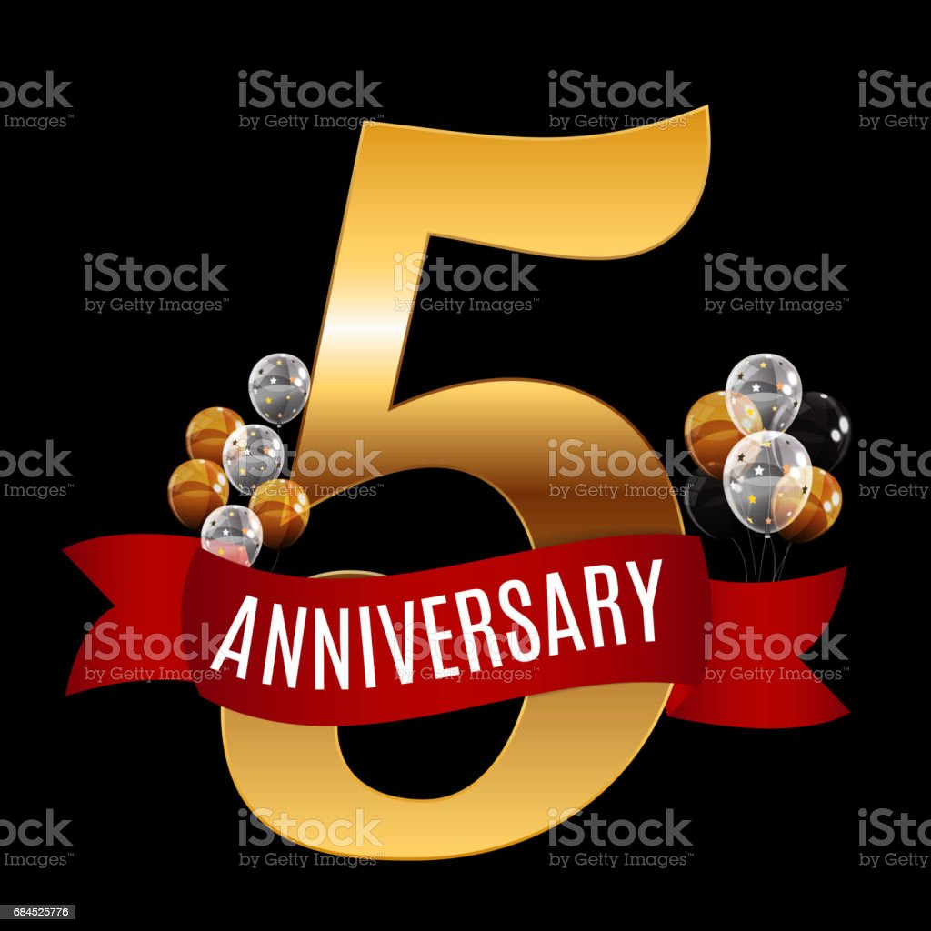 Golden 5 years anniversary template with red ribbon vector illus golden 5 years anniversary template with red ribbon vector illus royalty free golden 5 years biocorpaavc Gallery