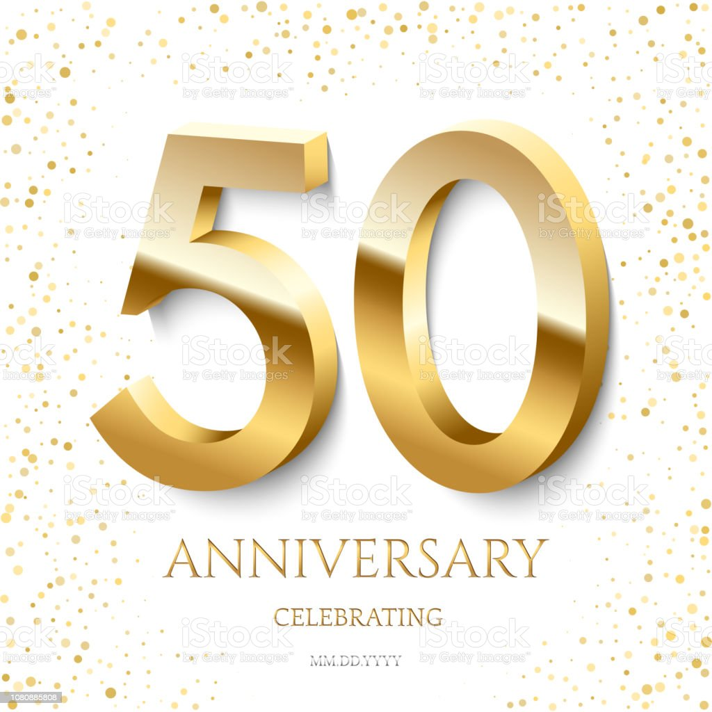 Golden 50th Anniversary Celebrating text and confetti on white background. Vector celebration 50 anniversary event template. vector art illustration