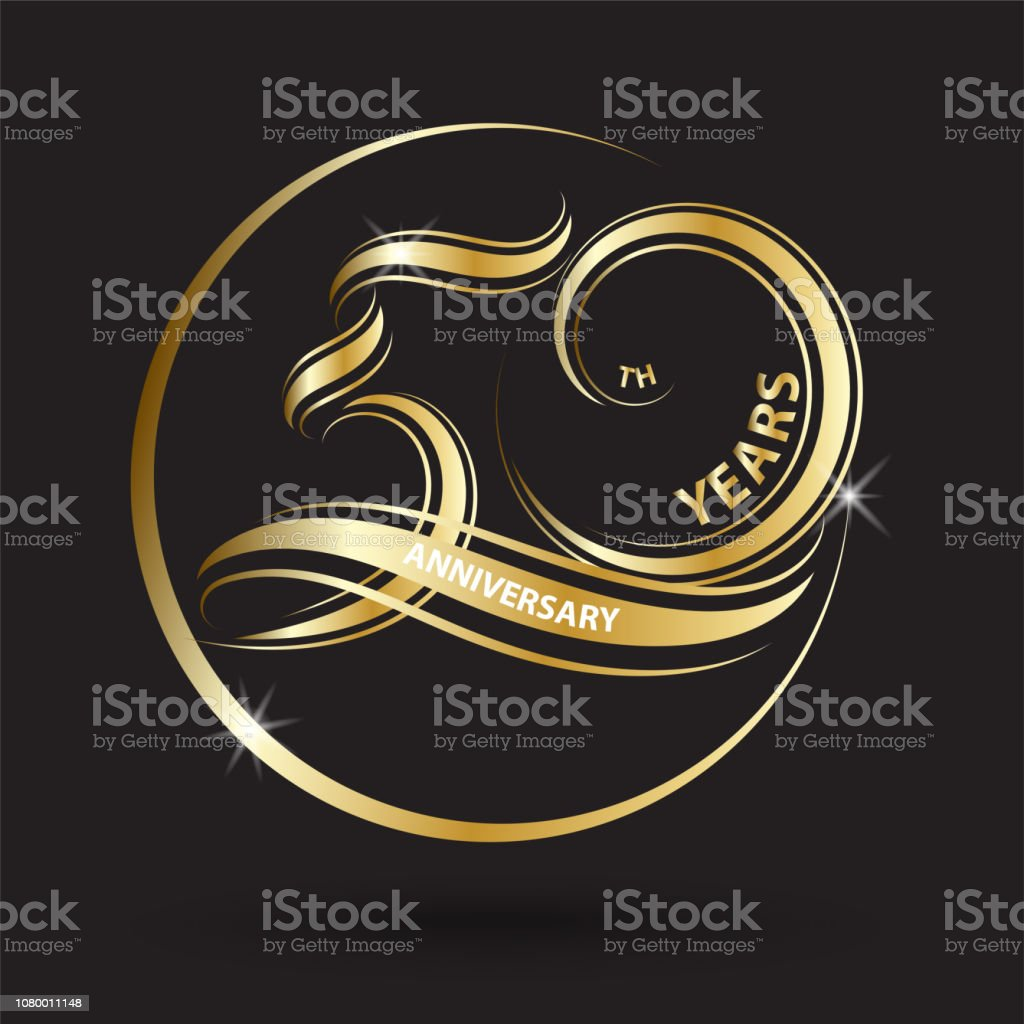 golden 50th anniversary sign and logo for gold celebration symbol vector art illustration