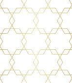 Golden abstract geometric pattern with rhombus, triangles and stars vector
