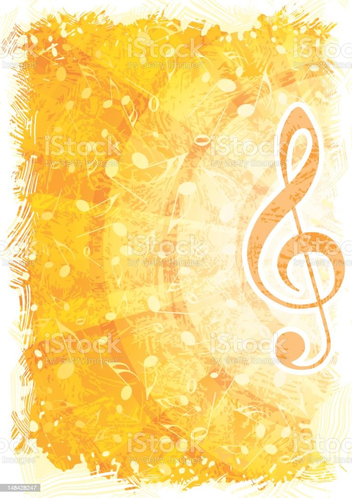 Golden abstract music background with focus on treble clef vector art illustration