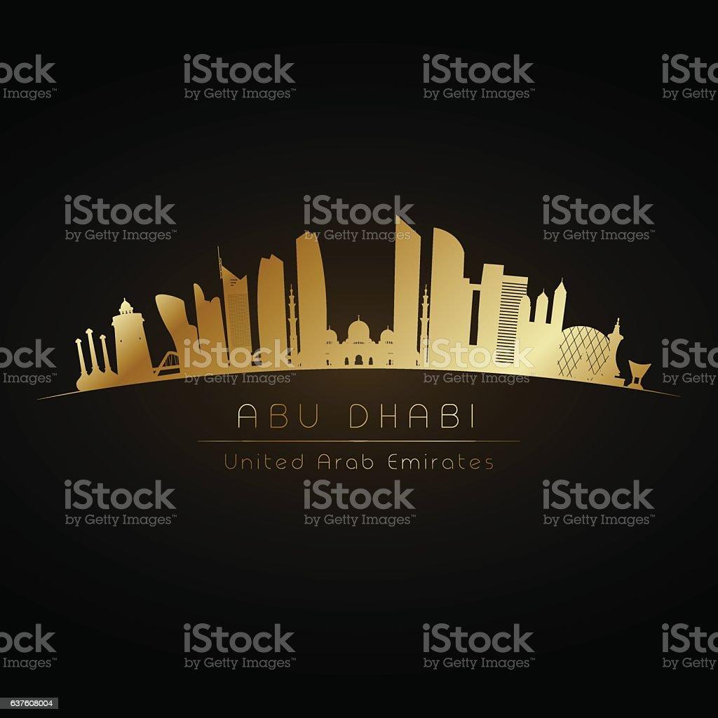 Golden Abu Dhabi. vector art illustration