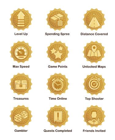 Golden achievement badges for shooter, runner, arcade game