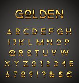 Shiny gold designer letters and numbers collection