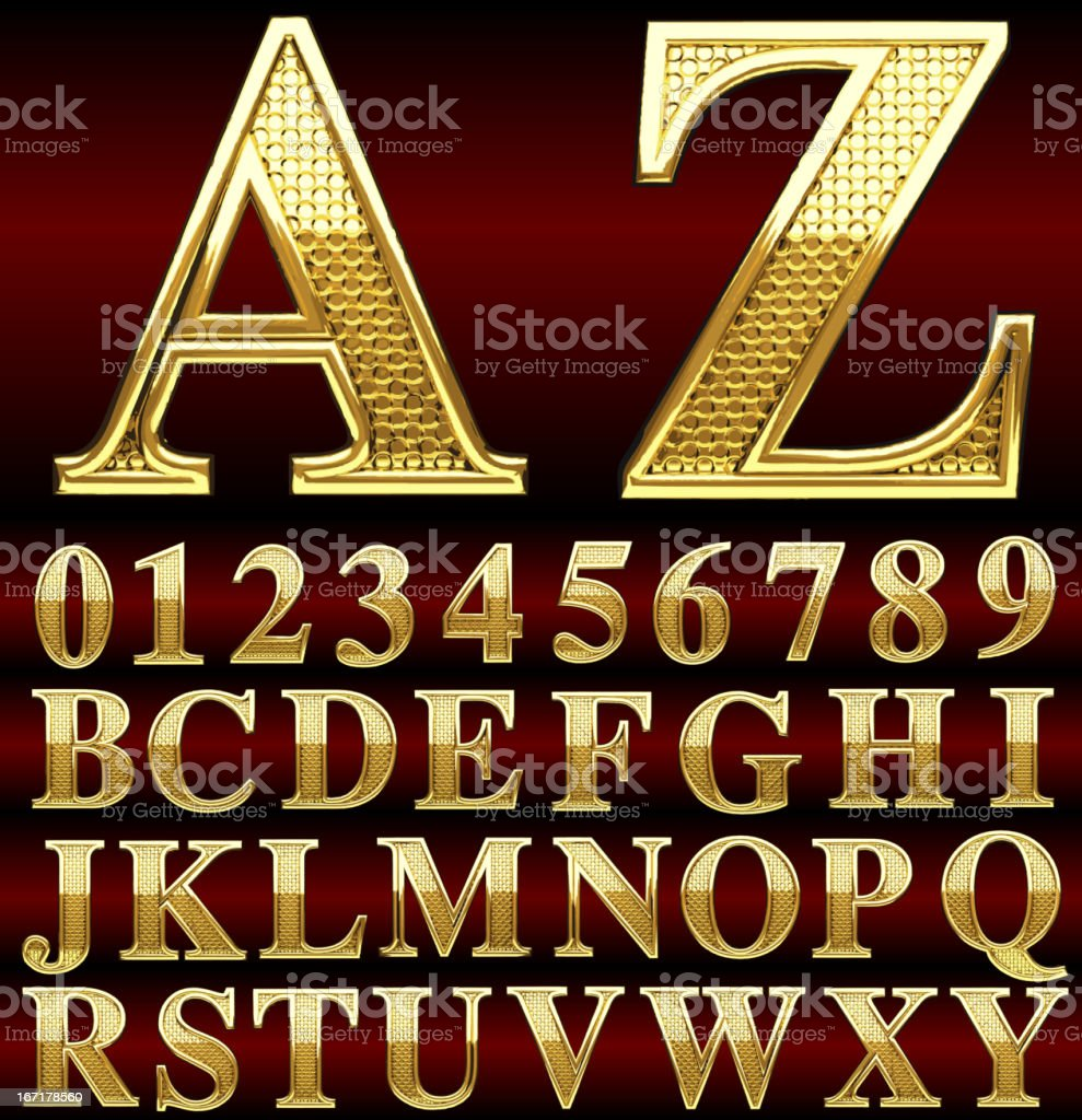 golden alphabet vector art illustration