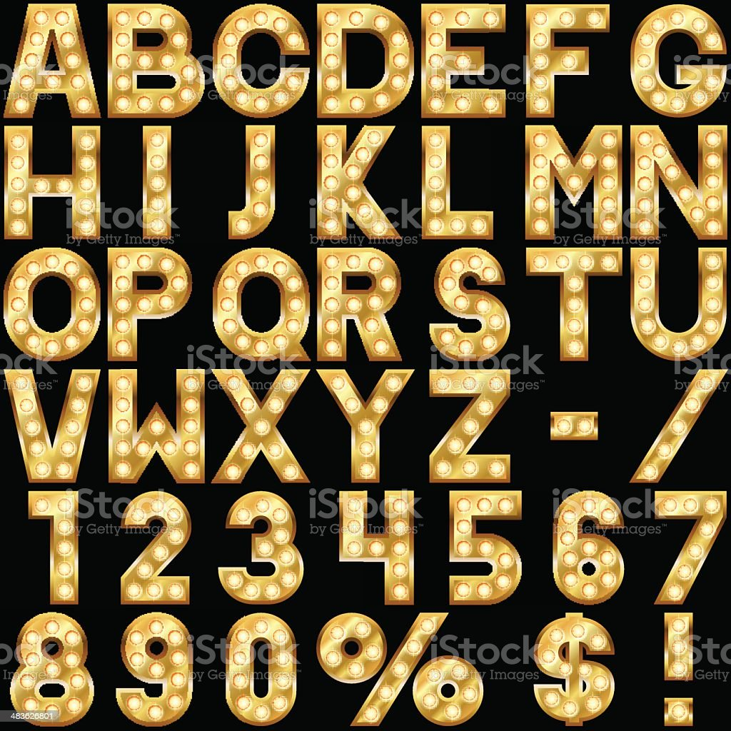 Golden alphabet vector art illustration