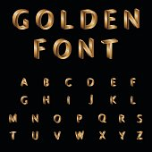Gold, Alphabet, Font, Typscript