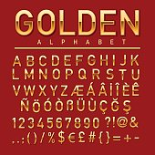 Gold colored alphabet, numbers and orthographic symbols.