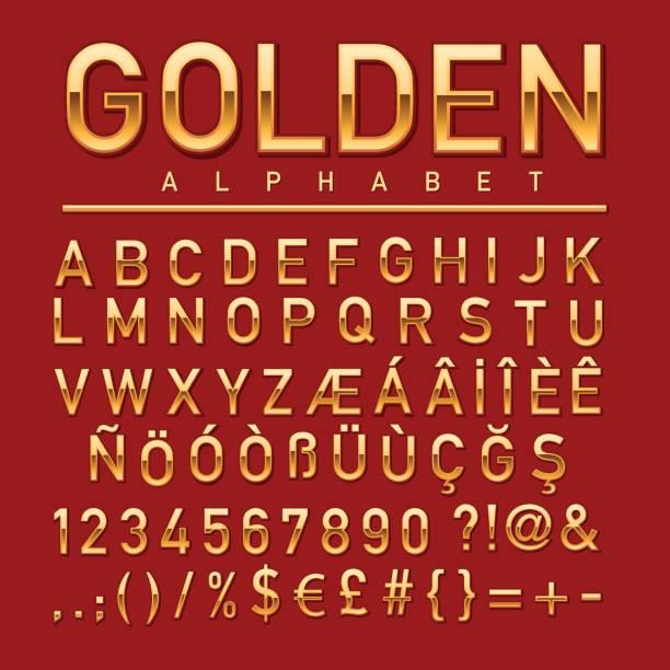 ilustraciones, imágenes clip art, dibujos animados e iconos de stock de alfabeto dorado - tipos de letra y tipografía