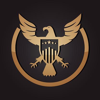 Golden American Eagle and Shield Emblem