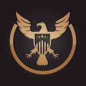 Vector of Golden American Eagle and Shield Emblem.
