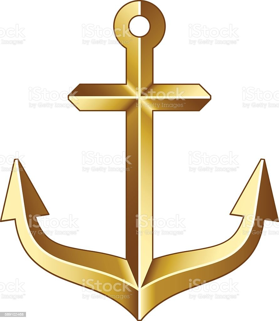 golden anchor vector art illustration