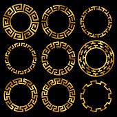 Golden ancient greek round frame ornament set. Ancient greek gold circle, classic antique round. Vector illustration