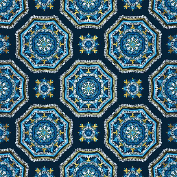goldener und blauer hintergrund. luxus orientalische nahtlose muster - perlenweben stock-grafiken, -clipart, -cartoons und -symbole