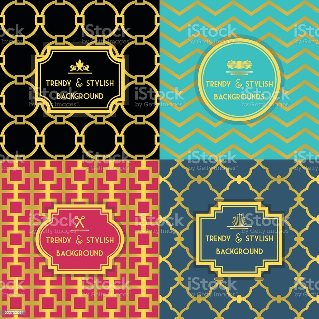 Golden and colorful trendy and stylish decoration background set vector art illustration