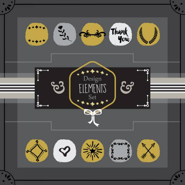 golden and dark gray emblems card design elements set - stripped pattern stock illustrations, clip art, cartoons, & icons